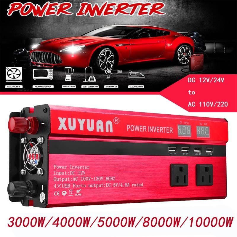 3000//4000//6000W Car Power Inverter 12//24V to 110//220V USB Sine Wave Converter