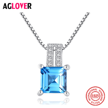 AGLOVER 2019 New 925 Sterling Silver Necklace Luxury Blue Zircon Square Pendant For Woman Wedding Glamour Jewelry Couple Gift