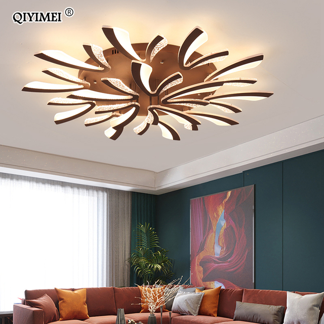 Modern LED ceiling chandelier lights for living room bedroom Dining Study Room White Black Body AC90 260V Chandeliers Fixtures