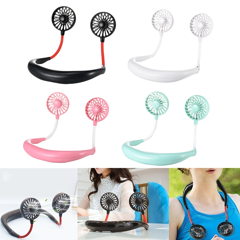 hand free neckband portable neck fans with usb rechargeable 1200mah battery and speed adjustable fan