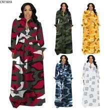 Cm. yaya S-4XL plus size feminino vestido de inverno camuflagem impressão maxi vestido de manga completa sexy noite festa ajuste & alargamento vestidos longos