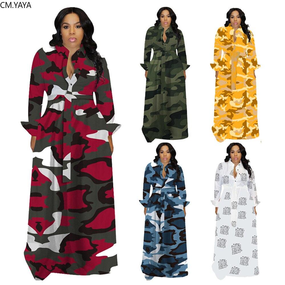 CM.YAYA-robe dhiver, grande taille, imprimé Camouflage, Maxi, manches longues, Sexy, tenue de soirée et évasée, S-4XL