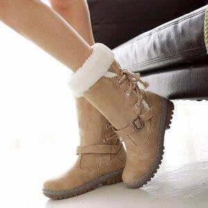 Image 1 - Winter Boots Women  Warm Velvet Woman Booties Shoes 2020 Mid calf Lace Up  Winter Women Shoes Female Botas Botines Ladies Shoes