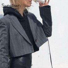 Sweetown England Style Striped Crop Jacket Autumn Streetwear