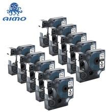 10 قطعة متوافقة مع أشرطة التسمية Dymo D1 45013 أسود على شريط أبيض D1 التسمية