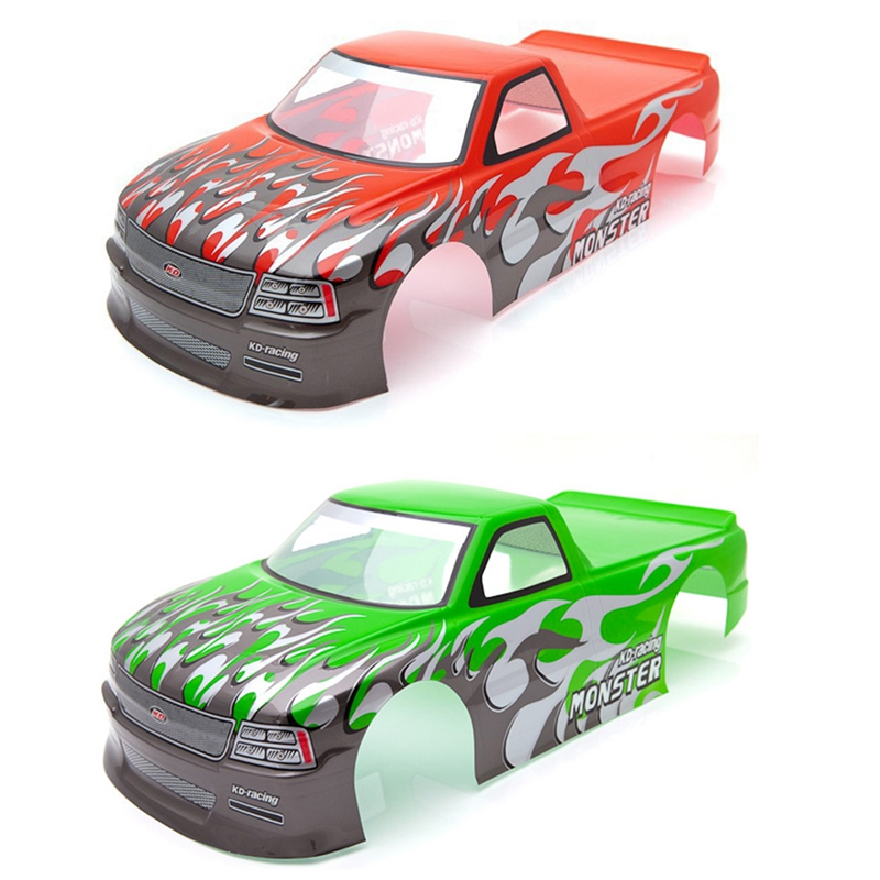 2pcs for <font><b>1/10</b></font> <font><b>RC</b></font> <font><b>Car</b></font> Venom T-10 PVC Painted <font><b>Body</b></font> <font><b>Shell</b></font> Pick Up Truck Width 205mm Wheelbase 255mm - Green & Red image