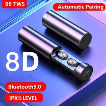 Auriculares TWS, inalámbricos por Bluetooth 5,0, auriculares estéreo HIFI auténticos, Auriculares deportivos...