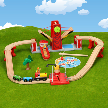 Multifunction Wooden Train Track Set Magnetic Car Model Slot Compatible Circular Orbit Early Educational Puzzle Toys for Kids zhenwei magnetic thomas train wooden track car children s puzzle early learning toy cake decoration diecast train action figure