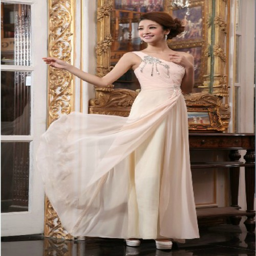 Free Shipping 2014 One-shoulder Chiffon Princess Crystal Formal Gown Bride Maxi Long For Party Custommade Bridesmaids Dresses