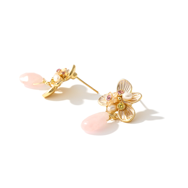 Yhpup Flower Dangle Pink Crystal Stone Earrings Luxury Freshwater Pearls Jewelry Gold Color Earrings for Women Anniversary Gift