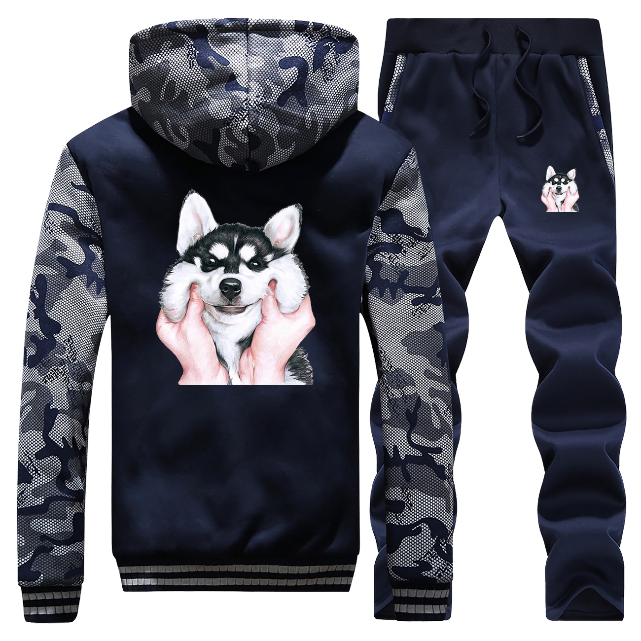Winter 2019 New Fashion Warm Jackets Cute Smile Husky Cartoon Hoodie Sportswear Camouflage Suit Coat Thick+Pants 2 Piece Set