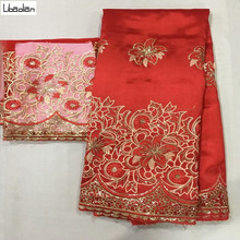 African George Fabric 5+2yards/pcs Indian Raw Silk George Wrappers Hot Nigerian Lace Fabrics Set with Blouse for Wedding E911-28