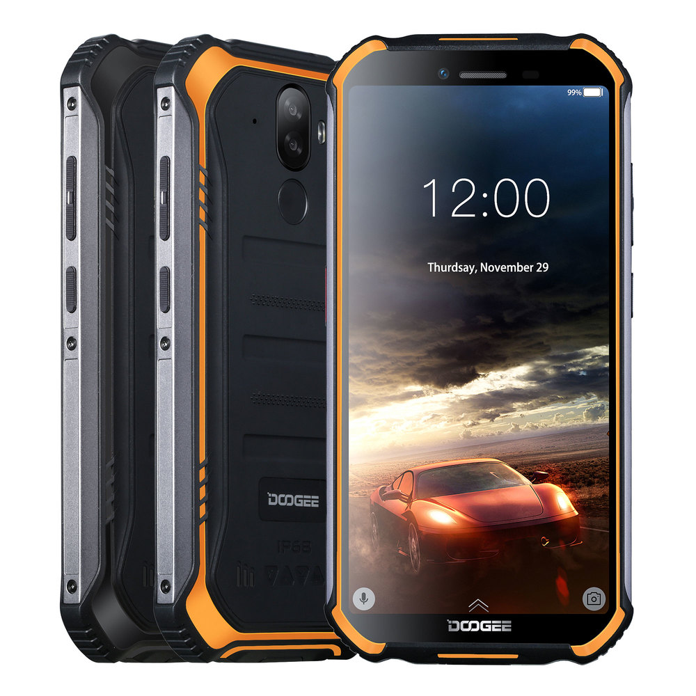 IP68 DOOGEE S40 Lite Rugged Phone Mobile Phone 5.5inch Display 4650mAh 8.0MP Fingerprint Quad Core 2GB 16GB Android 9.0