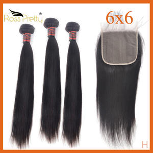 Hair-Bundles Closure Pretty-Product Human-Hair Transparent Straight with 6x6 Lace Ross