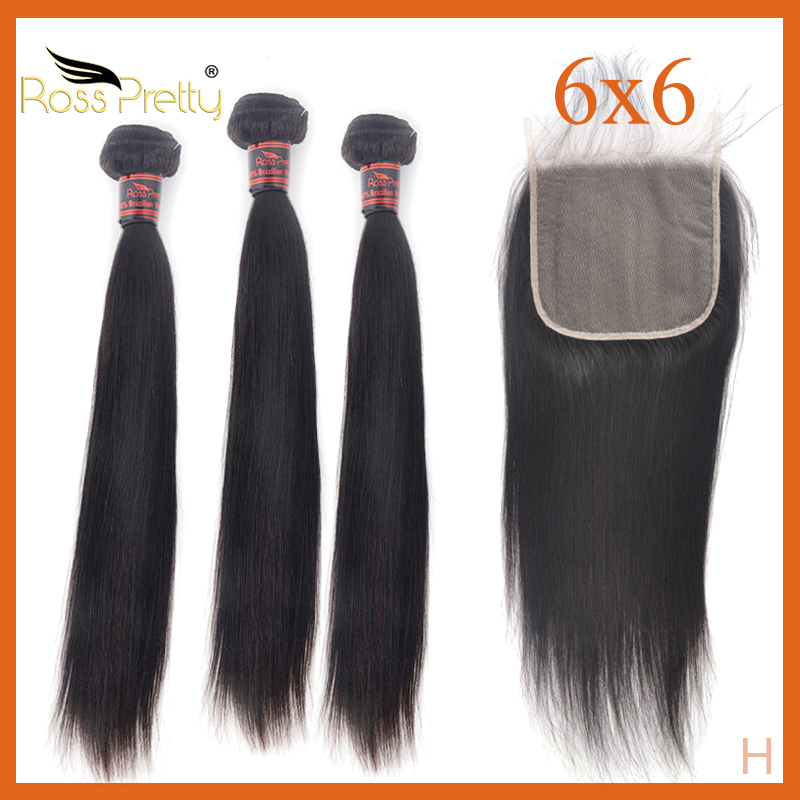 Hair Bundles With Closure 6x6 Brazilian Hair Straight Transparent Lace Closure With Human Hair Ross Pretty Product