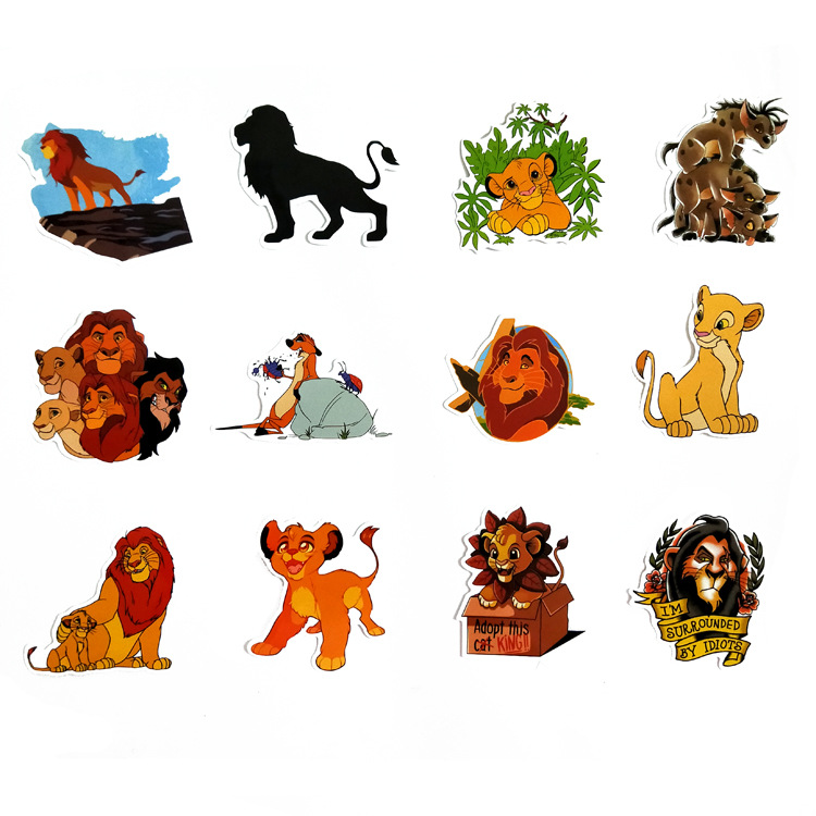 50 Pcs Lion King Stickers Simba Animal Decals Sticker To DIY Laptop Suitcase Guitar Fridge Bicycle Motorcycle Car Sticker in Stickers from Toys Hobbies