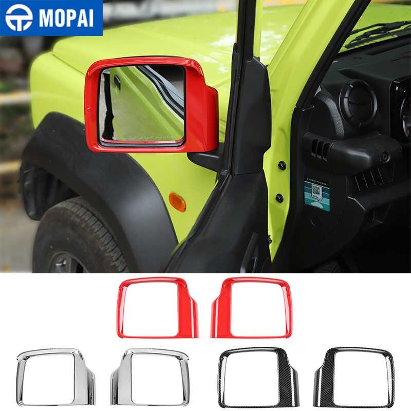 MOPAI Car Exterior Rearview Mirror Rain Eyebrow Decoration Frame Cover Stickers for Suzuki Jimny 2019-2020 Accessories