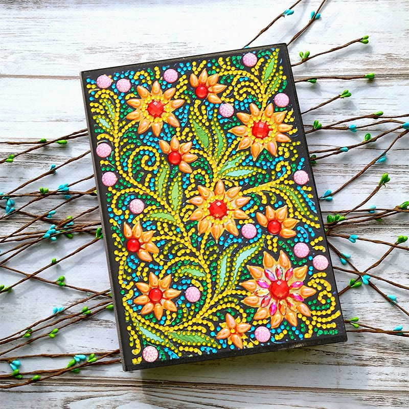 Flower Diamond Painting Cover Notebook Journal For Journaling Writing Note Taking Diary And Planner,A5 DIY Diamond Painting 50 P