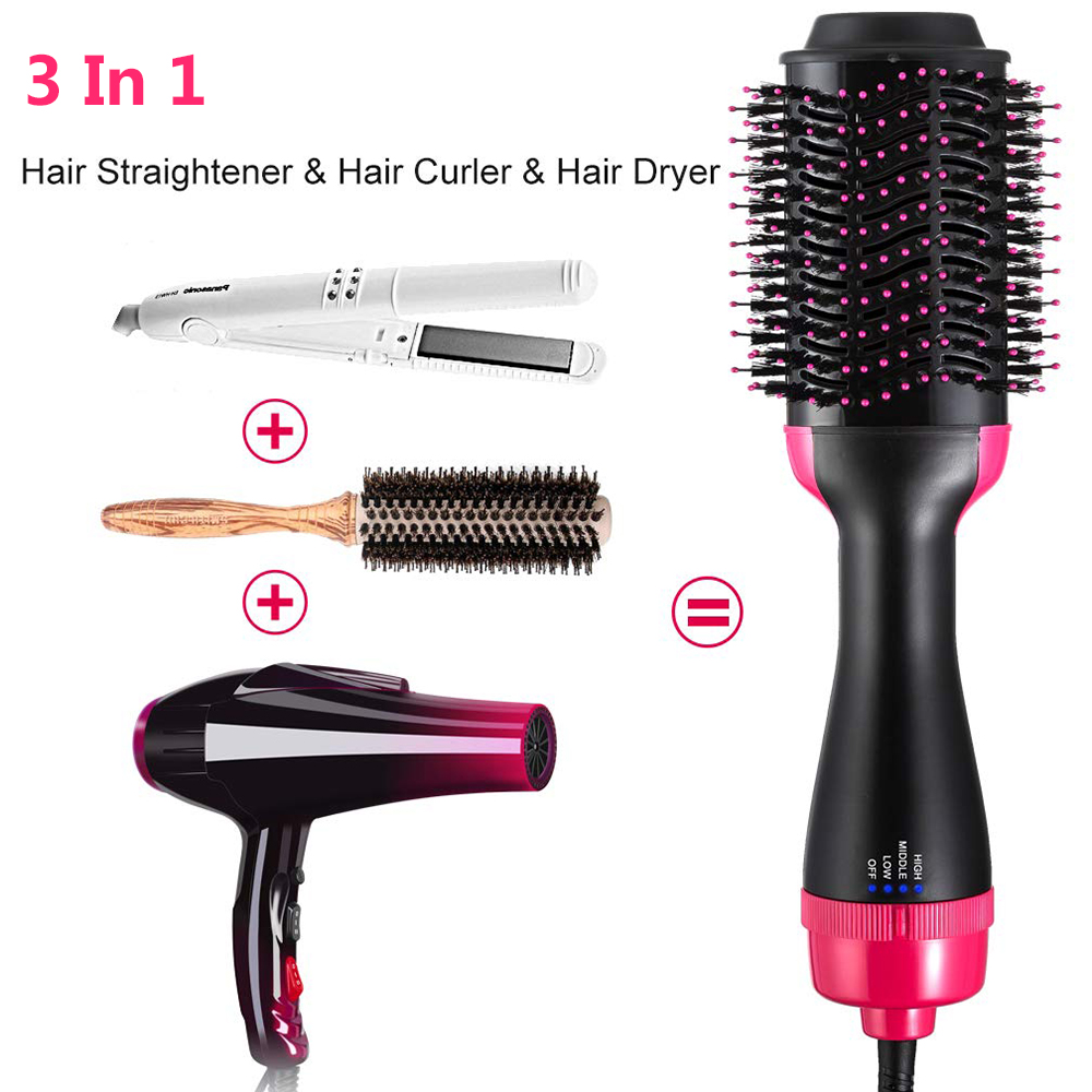 Hair Dryer Brush 3 In 1 One Step Hot Air Brush And Volumizer Blow Straightener Curler Professional Curling Iron Hair Styler Comb