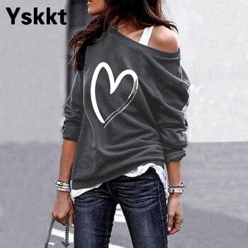 Yskkt Women's Pullover Sweatshirt Heart Printed Long Sleeve One Shoulder Tops Autumn Winter Sweat Shirts Woman Casual Top 2
