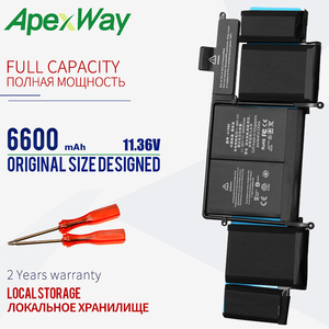 ApexWay 11.36V Laptop Battery A1582 for Apple For MacBook A1502 battery(2015 Year) Pro Retina A1502 (2015 Version) 6600mAh(China)