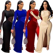 CM.YAYA – combinaison transparente en maille avec des strass pour femme, tenue de soirée en Club, Sexy, une pièce, collection automne et hiver