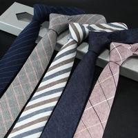 Мужской узкий галстук, деловой Повседневный галстук из хлопка и льна, 6 см 1