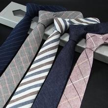 Мужской узкий галстук из хлопка и льна, мужской галстук, 6 см, праздничная одежда, деловая, повседневная, профессиональная работа, в клетку, подарок для отца