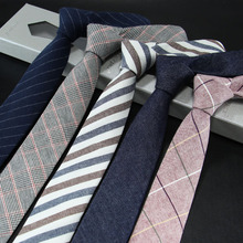 Mens Tie Narrow Version of Cotton and Linen Necktie Male 6cm Formal Wear Business Casual Professional Work Check Father