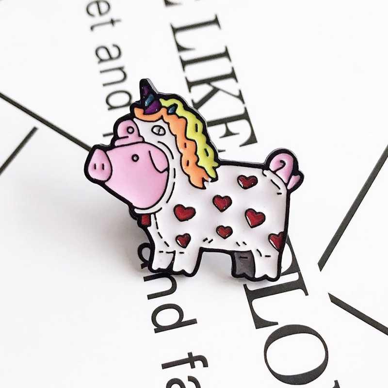 Kreatif Kartun Babi Unicorn Wanita Bros Enamel Warna Bros untuk Wanita Mantel Kerah Lencana Perhiasan