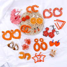 AENSOA 2019 Korean Orange Geometric Pendant Earrings Multiple Drop Unique Heart Resin Acrylic Raffia Dangle