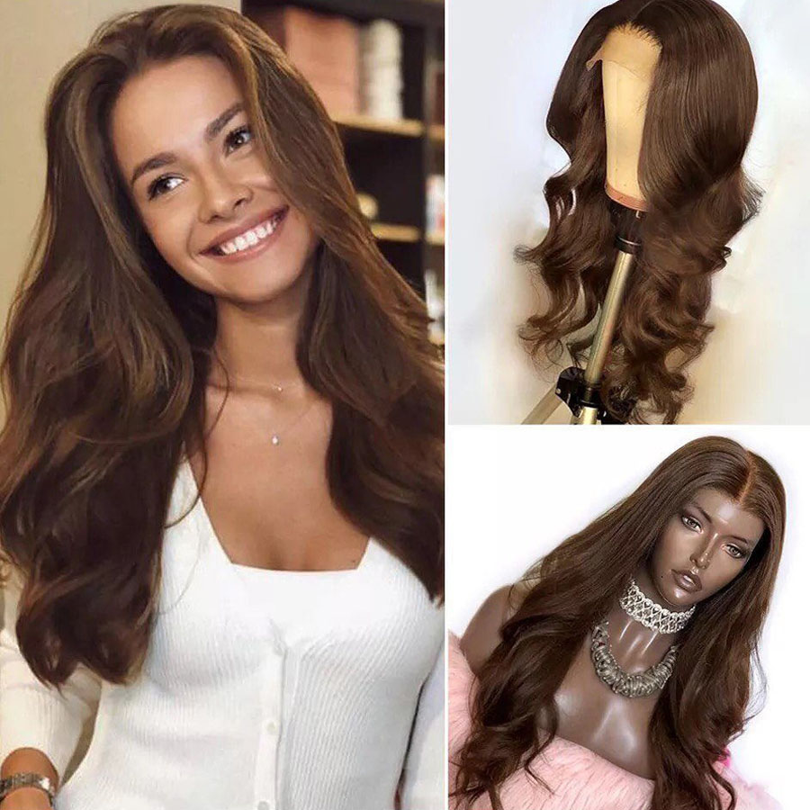 Long Wavy Chocolate Brown 150Density Full Lace Human Hair Wigs for Black Women Pre Plucked 360 Lace Frontal Wigs Bleached Knots