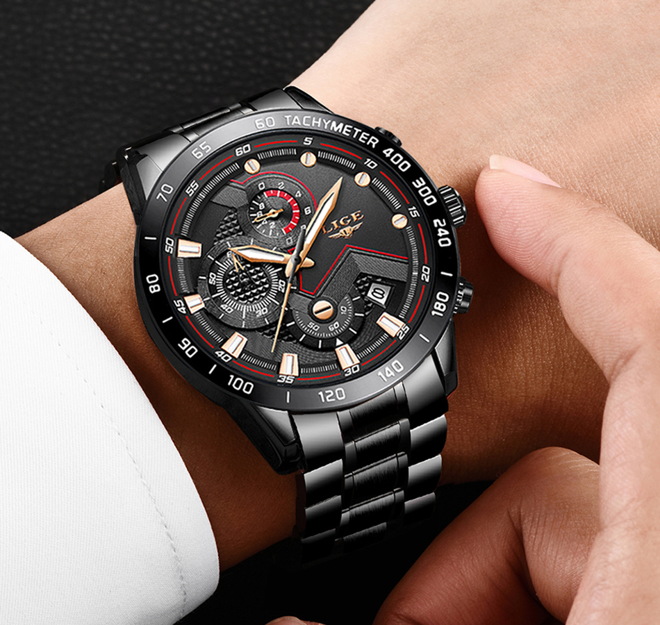 H302709a1b67d4643aa773fe73b49f1371 2020 LIGE Fashion Mens Watches Stainless Steel Top Brand Luxury Sport Chronograph Quartz Watch Men Black Watch Relogio Masculino