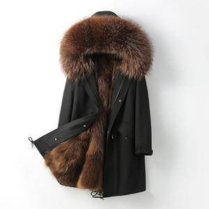 2020 Waterproof Parka Real Fox Fur Coat Natural Raccoon Fur Collar Hood Winter Jacket women Warm Outerwear Removable New