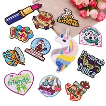20pcs/lot Embroidery Patches Letter Lipstick Heart Unicorn backpack Clothing Decoration Accessories Iron Heat Transfer Applique