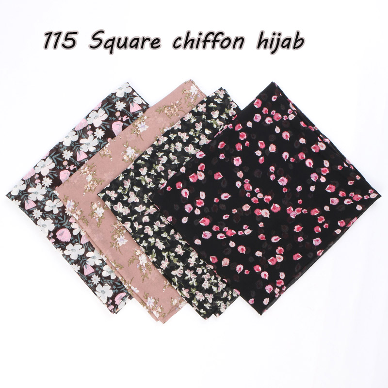 115cm Printe Chiffon Square Hijab Scarf Chiffon Wraps Flower Shawls Muslim Lightweight Headband Wraps Islamic Scarves 10pcs/lot