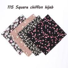 115 см с принтом шифоновое квадратный хиджаб шарф шифоновые накидки Цветочные шали мусульманских легкая головная повязка обертывания мусульманские шарфы 10 шт./лот