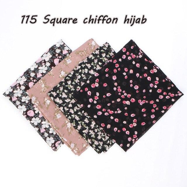 115cm Printe chiffon Platz hijab schal chiffon wraps blume schals muslimischen leichte stirnband wraps islamischen schals 10 teile/los