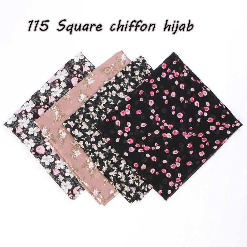 115cm Printe chiffon Square hijab scarf chiffon wraps flower shawls muslim lightweight headband wraps islamic scarves 10pcs/lot-in Women's Scarves from Apparel Accessories
