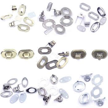 50Sets Switch Turn Twist Clasp Locks Buckle Metal Silver Tone For Handbag Craft Hardware Tool Purse Bag DIY Finding 32mm
