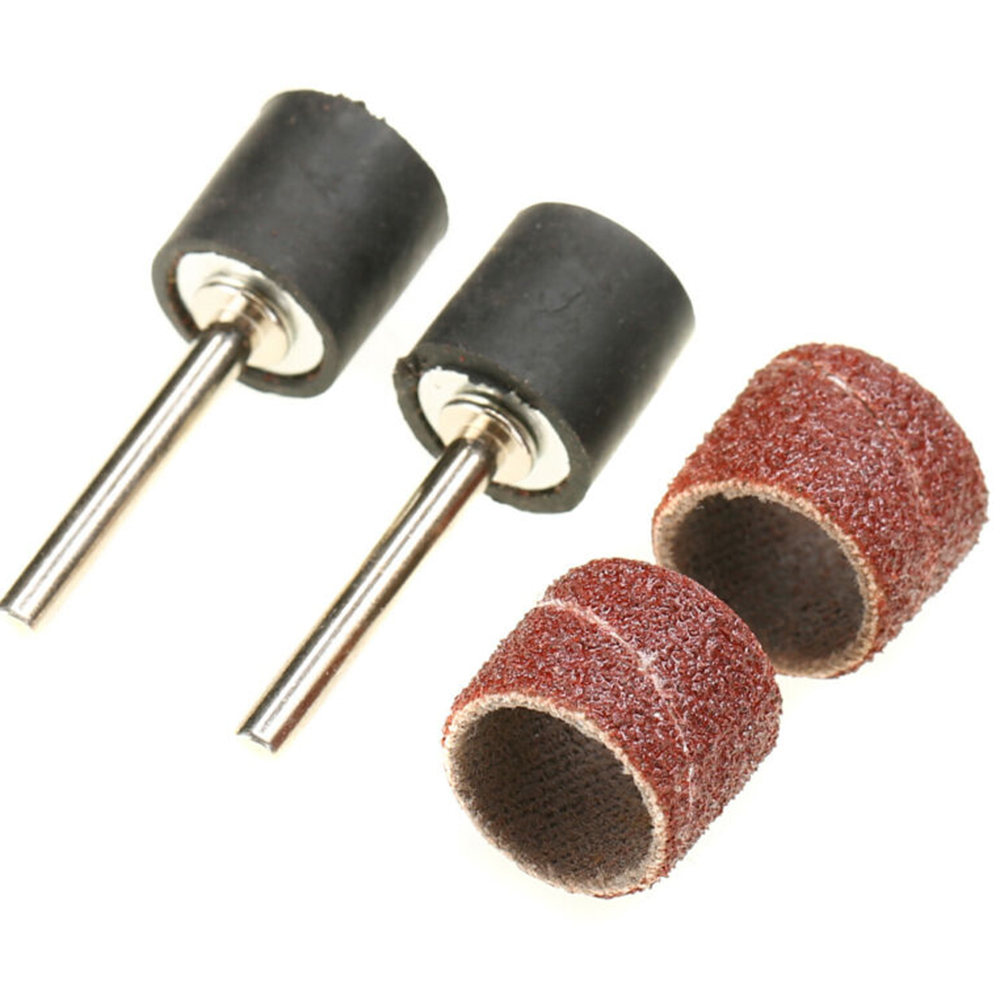 100pcs/lot Mounted Cylindrical Grinding Heads Abrasive Sanding Sleeves Sanding Rollers Set For Nail Drill Manicure Tools