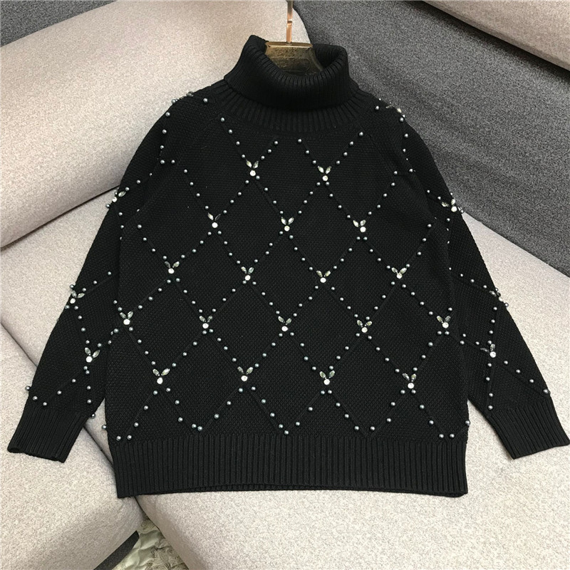 Luxury Designer Brand Knitted Sweatrer For Women High Collar Handwork Beading Diamonds Loose Knitted Pullover Sweater