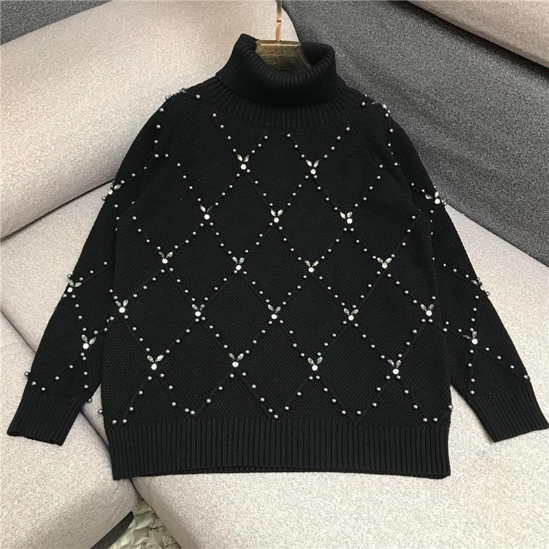 Luxury Designer Brand Knitted Sweatrer For Women High Collar Handwork Beading Diamonds Loose Knitted Pullover Sweater