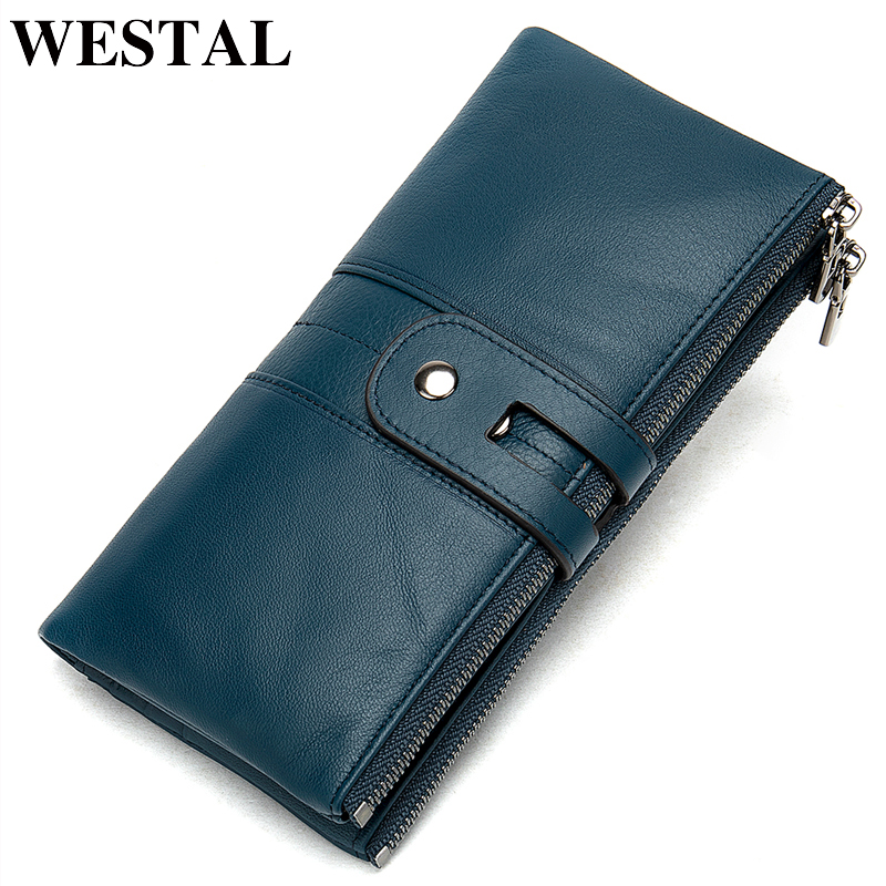 WESTAL women's wallet genuine leather purse/wallet for women/lady fashion woman's clutch bag women's purse long card holder 8560