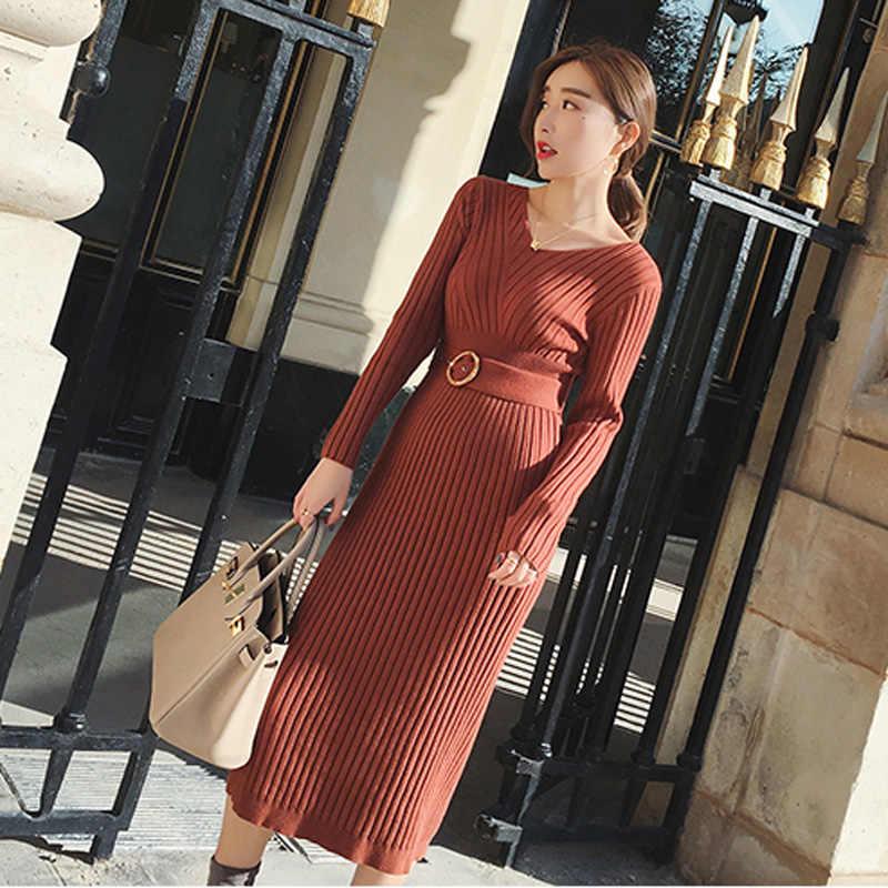 Повседневное женское платье-свитер с v-образным вырезом на осень и зиму, теплые пуловерные платья Femme, облегающее плотное вязаное женское платье-миди 2019