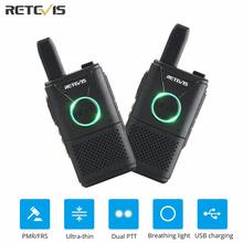 Mini Walkie Talkie 2pcs Retevis RT618/RT18 Radio Station Ultra thin Dual PTT Two Way Radio Portable FRS PMR446 Frequency hopping