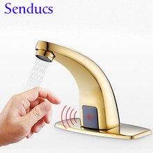 Датчик Facucet Senducs, золотой датчик, смеситель для раковины, качественный латунный автоматический смеситель для ванной комнаты, античный датчик, смесители для ванной комнаты