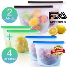 RASABOX - Reusable Silicone Food Storage Bags for Vegetable, Fruit, Meat Leakproof, Microwave Freezer, Dishwasher Safe