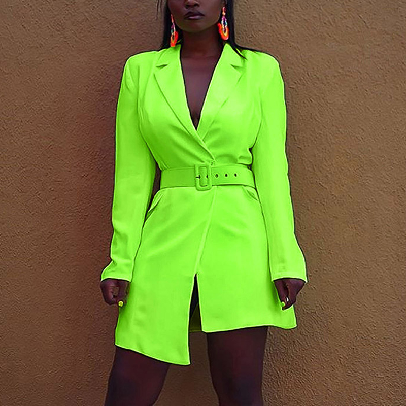 Long Sleeve Women Blazer Dress 2020 Fashion Office Lady Turn-down Collar Casual Neon Green Blazers And Jackets Manteau Femme