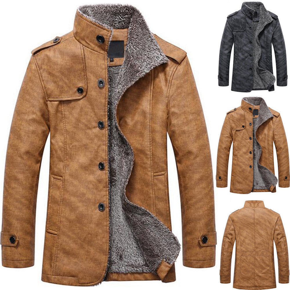 H3027a99285c04b1d88b8b8178d763cbbN Fashion Men's Leather Jacket Top Coat Warm Autumn Winter Casual Pocket Button Thermal Outwear Jumper For Male Men